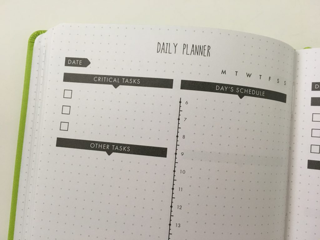 Lux Productivity planner review pros and cons sewn bound dot grid day to a page index weekly planning reflection monthly calendar_21