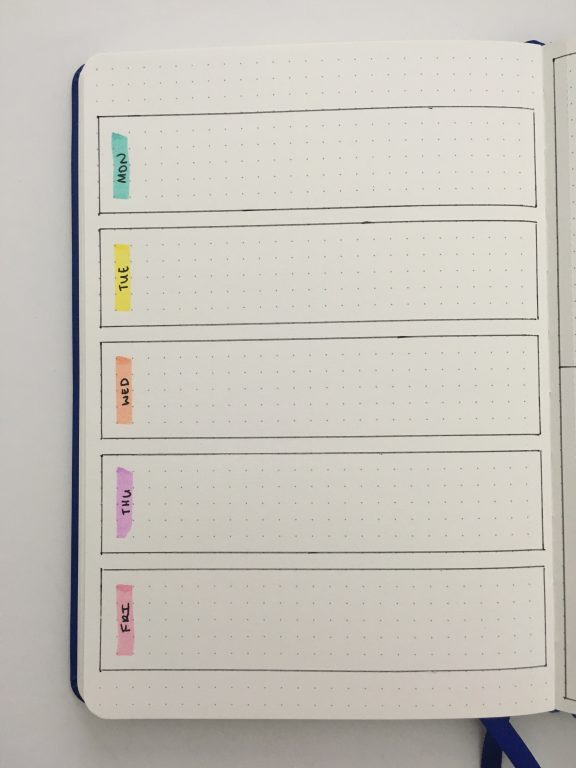 bullet journal pastel weekly spread 5 days dashboard simple minimalist quick easy 1 page bullet keeper dot grid notebook