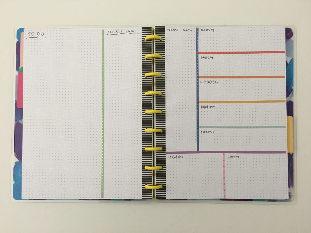 bullet journal washi tape weekly spread dashboard layout rainbow color coded by day easy simple happy planner dot grid refill discbound