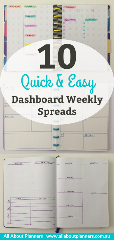 bullet journal weekly spread quick easy dashboard horizontal simple layouts for beginners newbies minimalist minimal color
