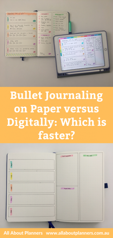 bullet journaling on paper versus digitally which is faster comparison digital bujo goodnotes app tool instructions tips planner newbie