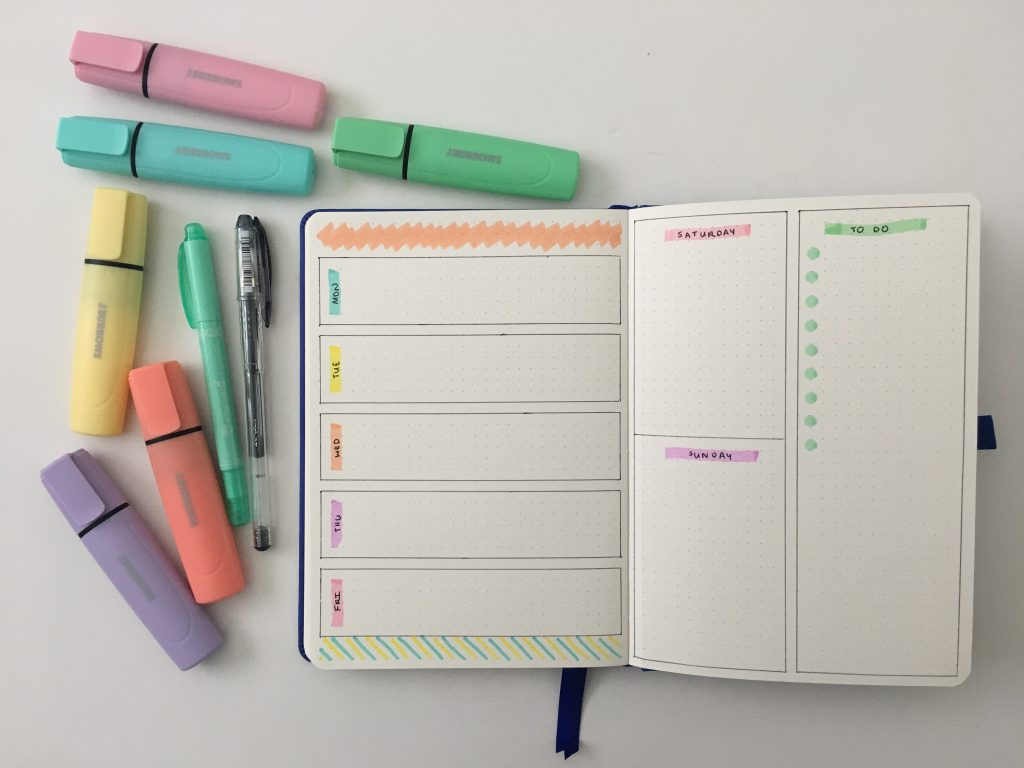 bullet keeper dot grid notebook pastel weekly spread j burrows highlighters australia dashboard layout simple quick easy