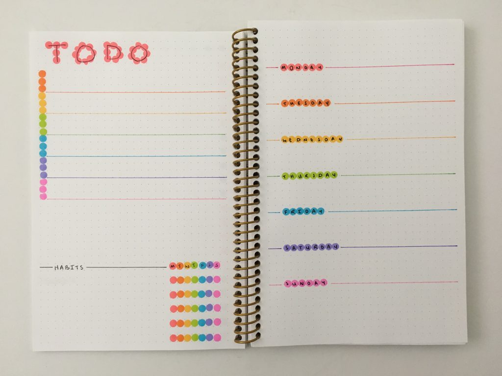 dot markers bullet journal weekly spread dashboard checklist habits monday week start quick easy colorful rainbow
