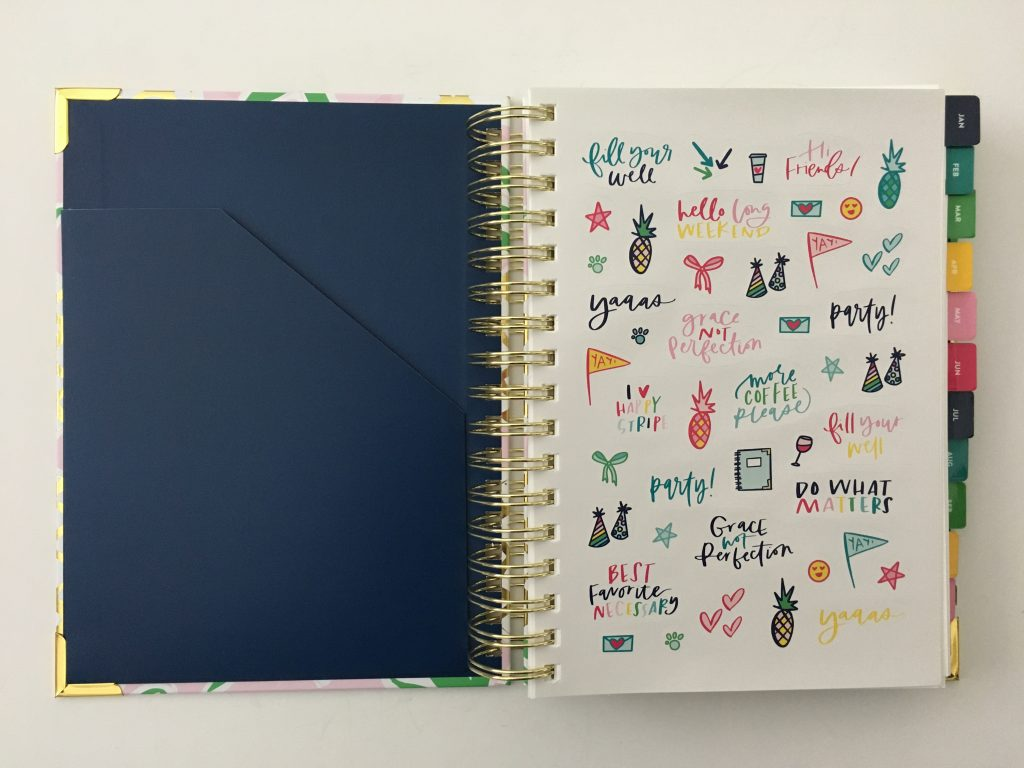 emily ley simplified planner daily day to a page layout tabs gold foil pineapple schedule 6am to 9pm hourly rainbow_04