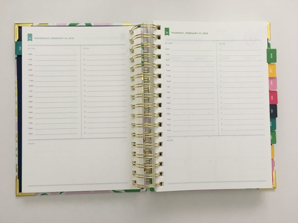 emily ley simplified planner daily day to a page layout tabs gold foil pineapple schedule 6am to 9pm hourly rainbow_18