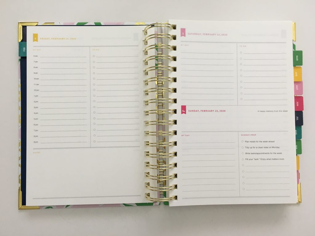 emily ley simplified planner daily day to a page layout tabs gold foil pineapple schedule 6am to 9pm hourly rainbow_19