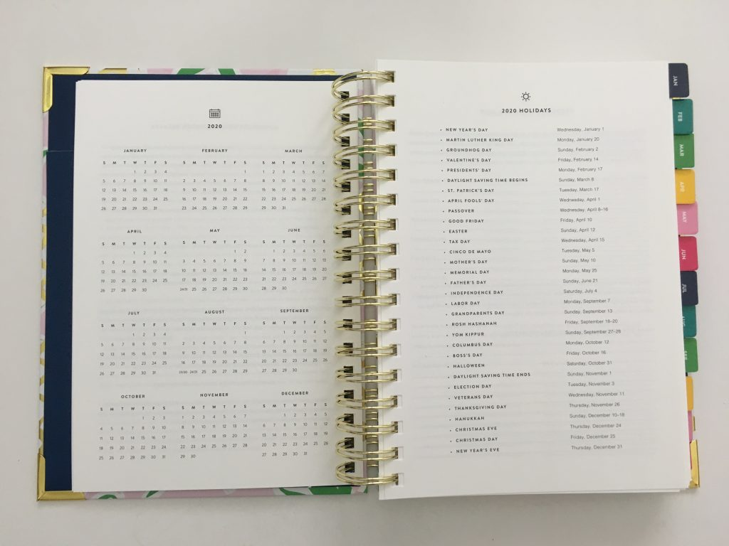 emily ley simplified planner daily day to a page layout tabs gold foil pineapple schedule 6am to 9pm hourly rainbow_24