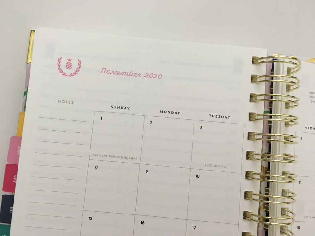 emily ley simplified planner daily day to a page layout tabs gold foil pineapple schedule 6am to 9pm hourly rainbow_29