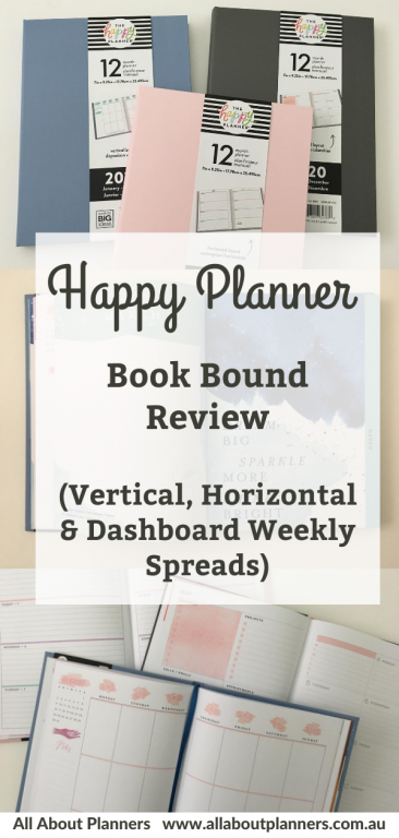 happy planner bookbound review vertical horizontal and dashboard weekly spreads