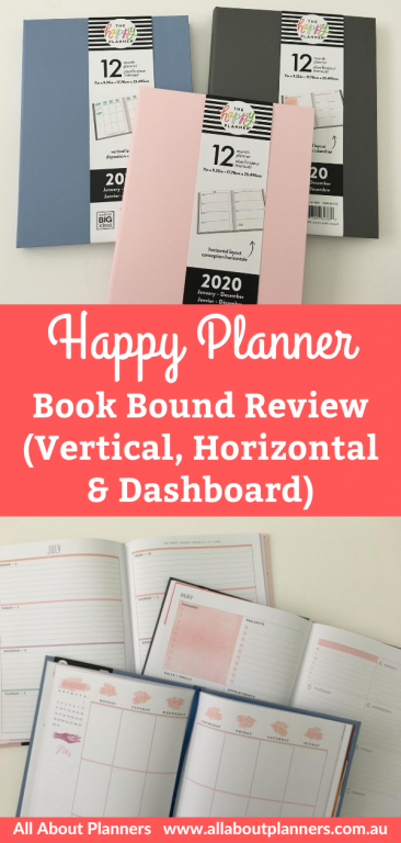 happy planner bookbound review vertical horizontal and dashboard weekly spreads video lay flat binding
