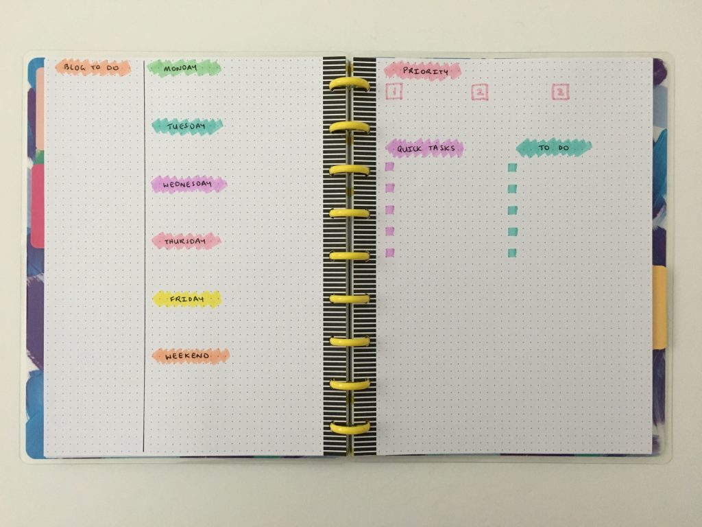 happy planner dot grid notebook bullet journal weekly spread pastel stabilo boss highlighters quick simple easy happy notes bujo minimalist rainbow