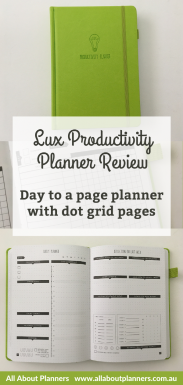 lux productivity planner review day to a page planner with dot grid pages minimalist hybrid bullet journal planner video pros and cons all about planners 6 month undated