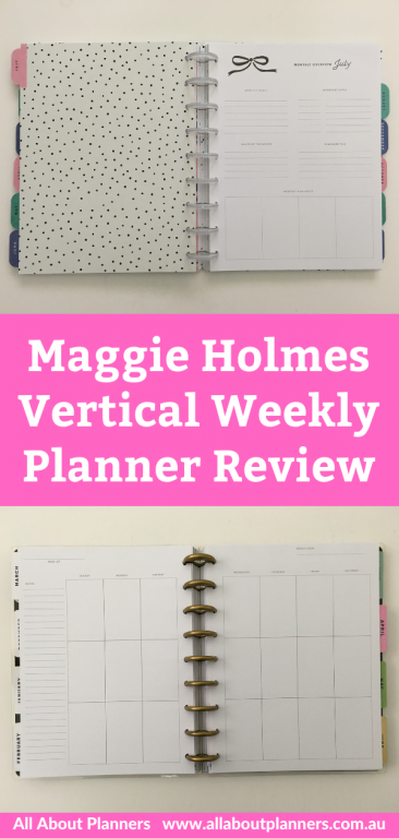 maggie holmes day to day weekly planner review vertical minimalist discbound sunday week start clear discs monthly overview pen test