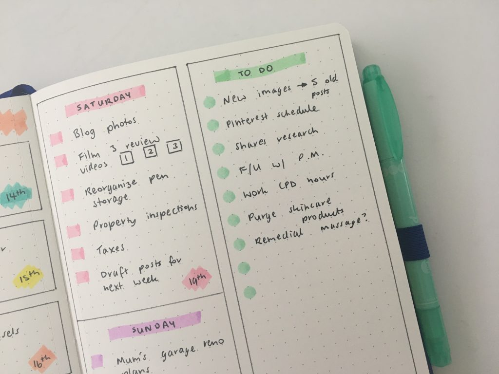 simple bullet journal weekly spread minimalist pastel highlighters weekend planning dot markers j burrows cheaper alternative for stabilo boss