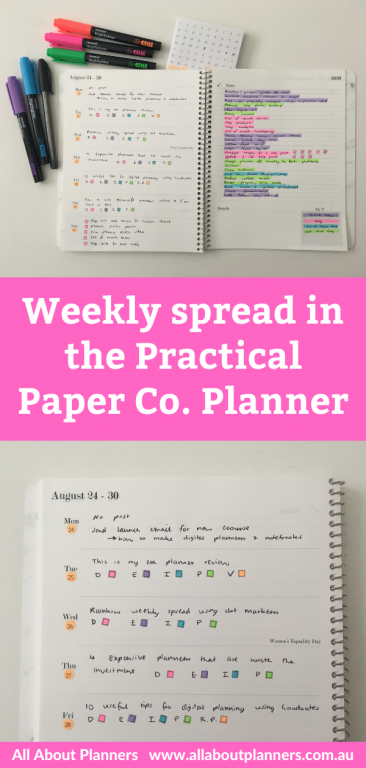 weekly spread in the practical paper co planner brooklyn tasks list layout dashboard weekly layout minimalist color coding monami highlighters