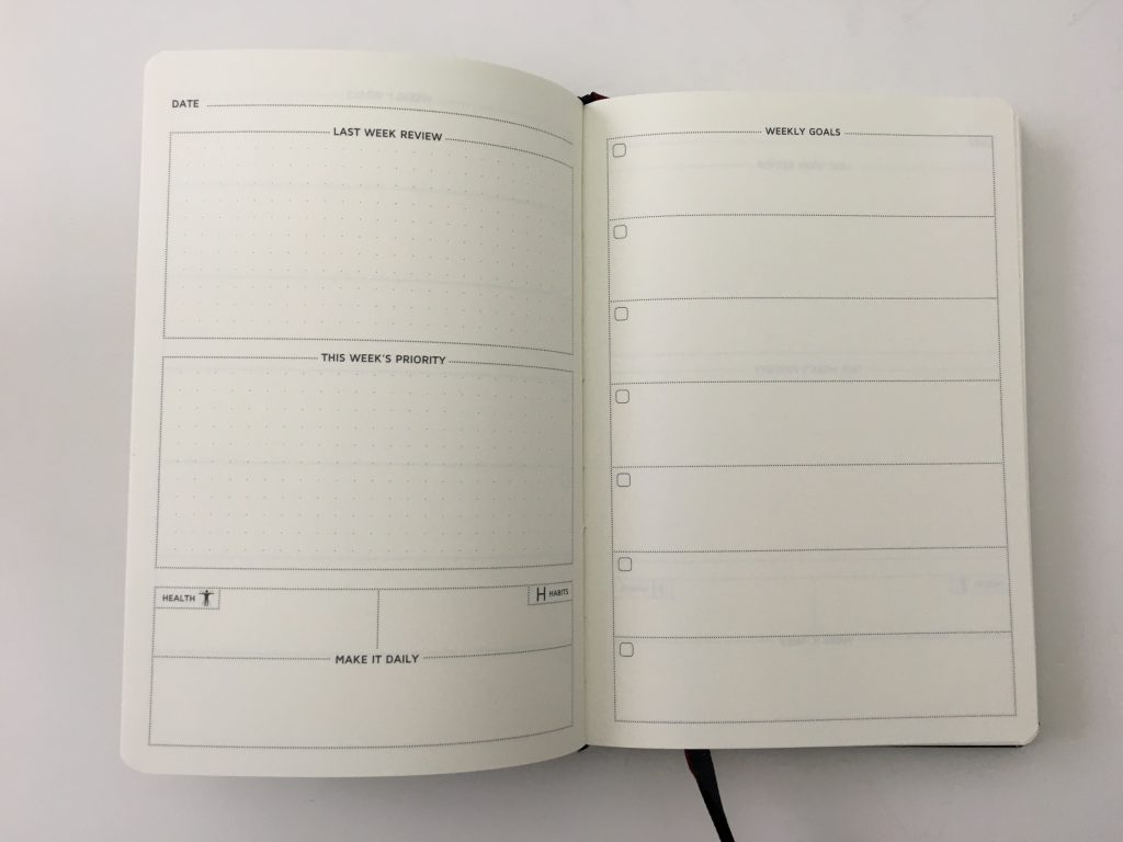 Cossac planner review weekly daily day to a page planner undated sunday week start goals minimalist review_11