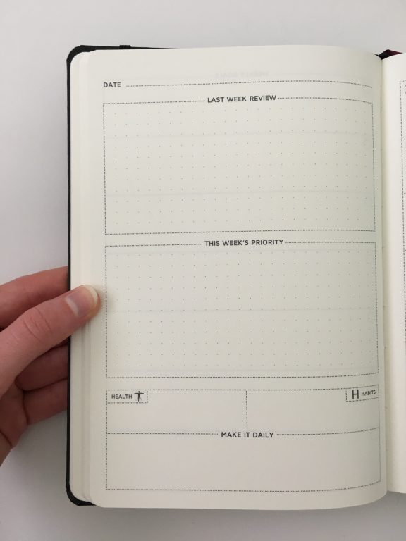 Cossac planner review weekly daily day to a page planner undated sunday week start goals minimalist review_13
