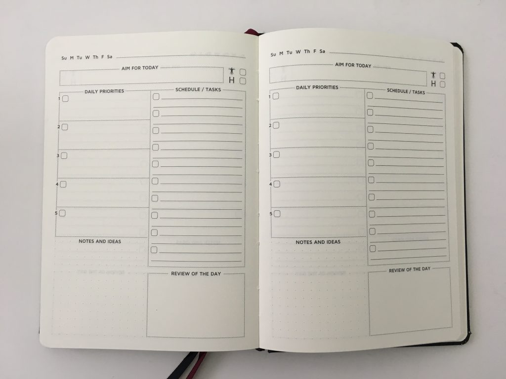 Cossac planner review weekly daily day to a page planner undated sunday week start goals minimalist review_14