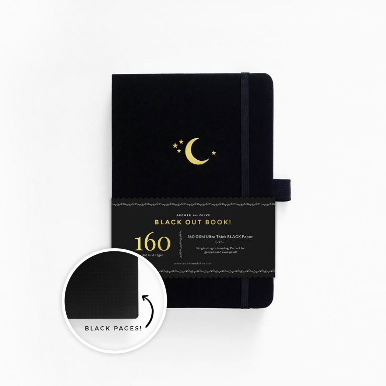 archer and olive blackout notebook a5 page size crescent moon cover buy australia