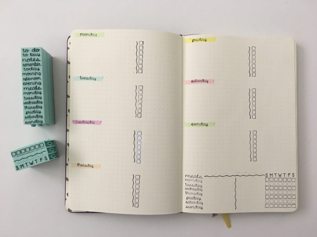 bullet journal stamping weekly spread horizontal simple quick easy contact usa functional stamp no smear self inking