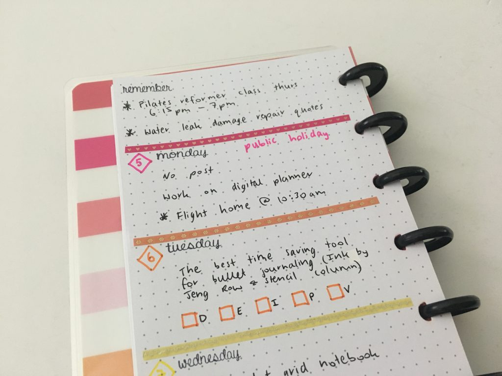 contact usa planner stamps cursive font black ink rainbow thin washi tape happy planner half sheet mambi