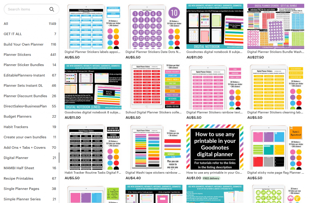 digital planner stickers all about planners