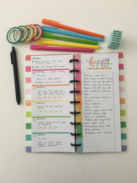 happy planner half sheet weekly spread rainbow stamps thin washi tape quick simple easy weekly spread horizontal plus checklist