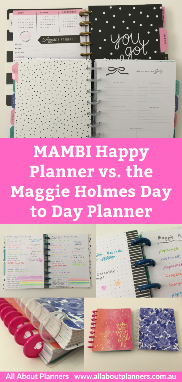 happy planner me and my big ideas versus the maggie holmes day to day planner pros andcons pen testing disc size and spacing
