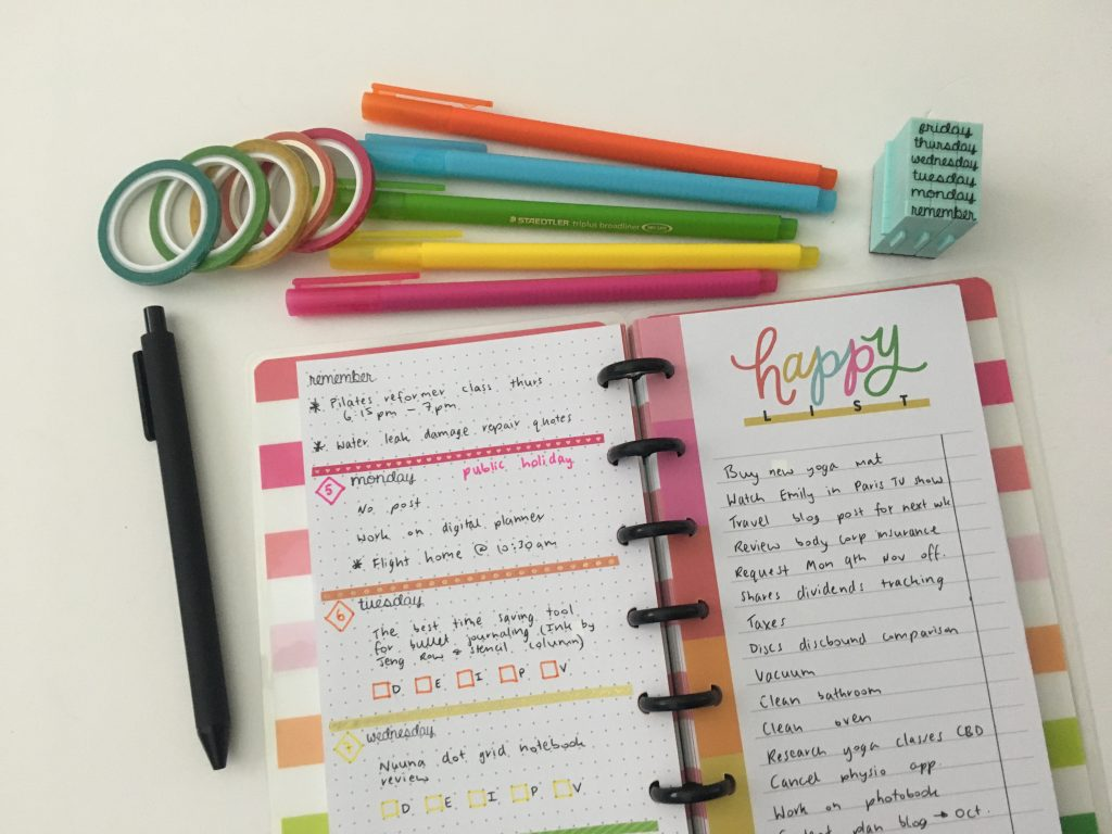 happy planner stamps weekly spread half sheet happy notes contact usa days of the week minimalist rainbow washi tape