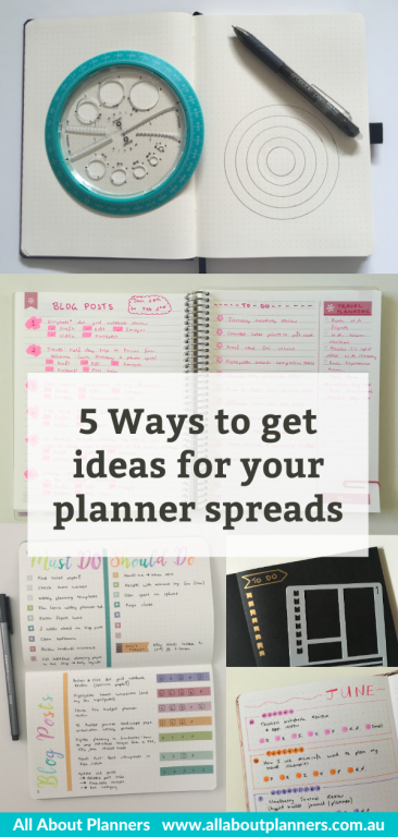 how to get ideas for your planner spreads weekly daily monthly tools supplies inspiration planning tips new all about planners download list of planning themes colors