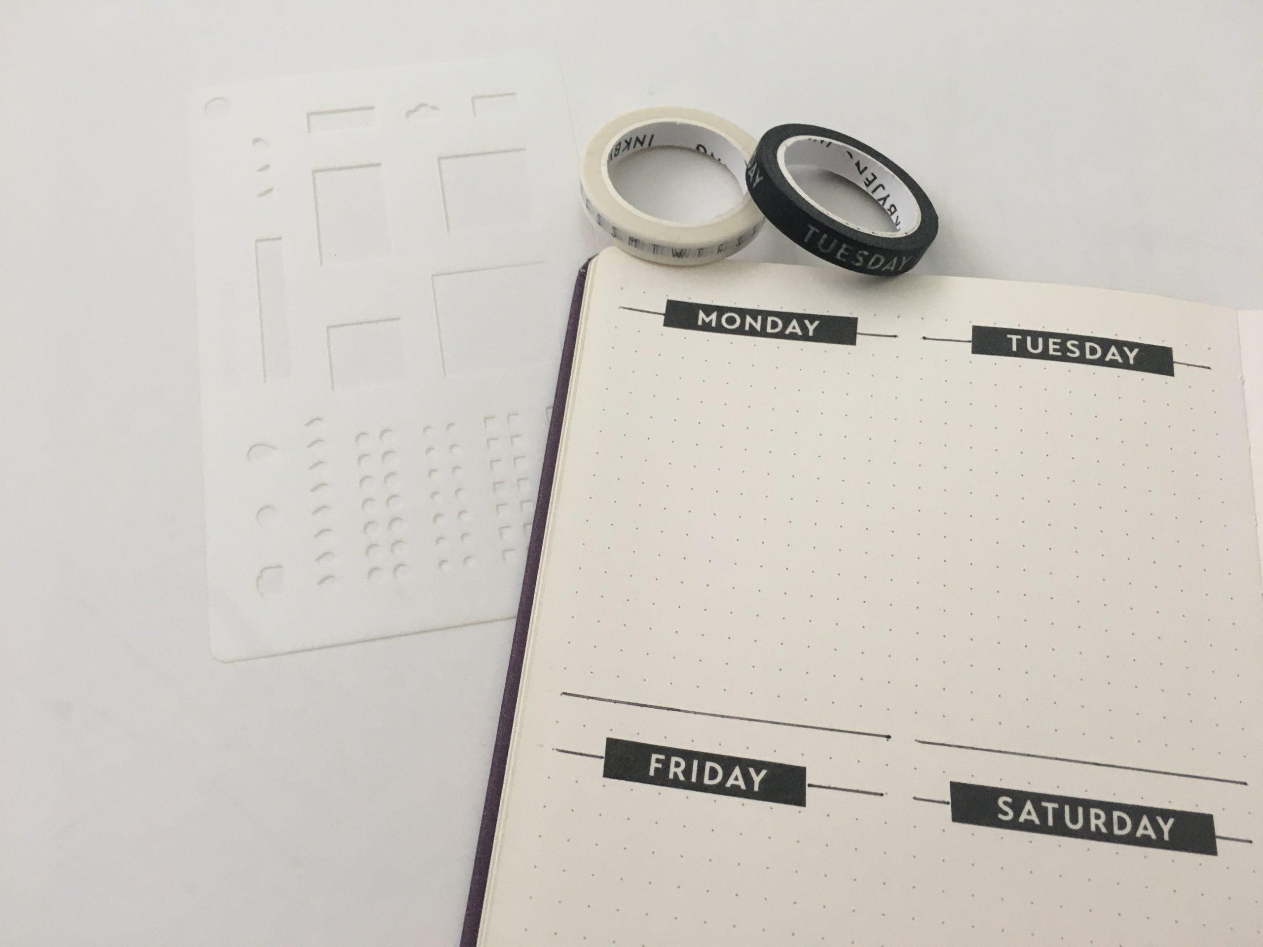 washi tapes 5 Black /& white journaling