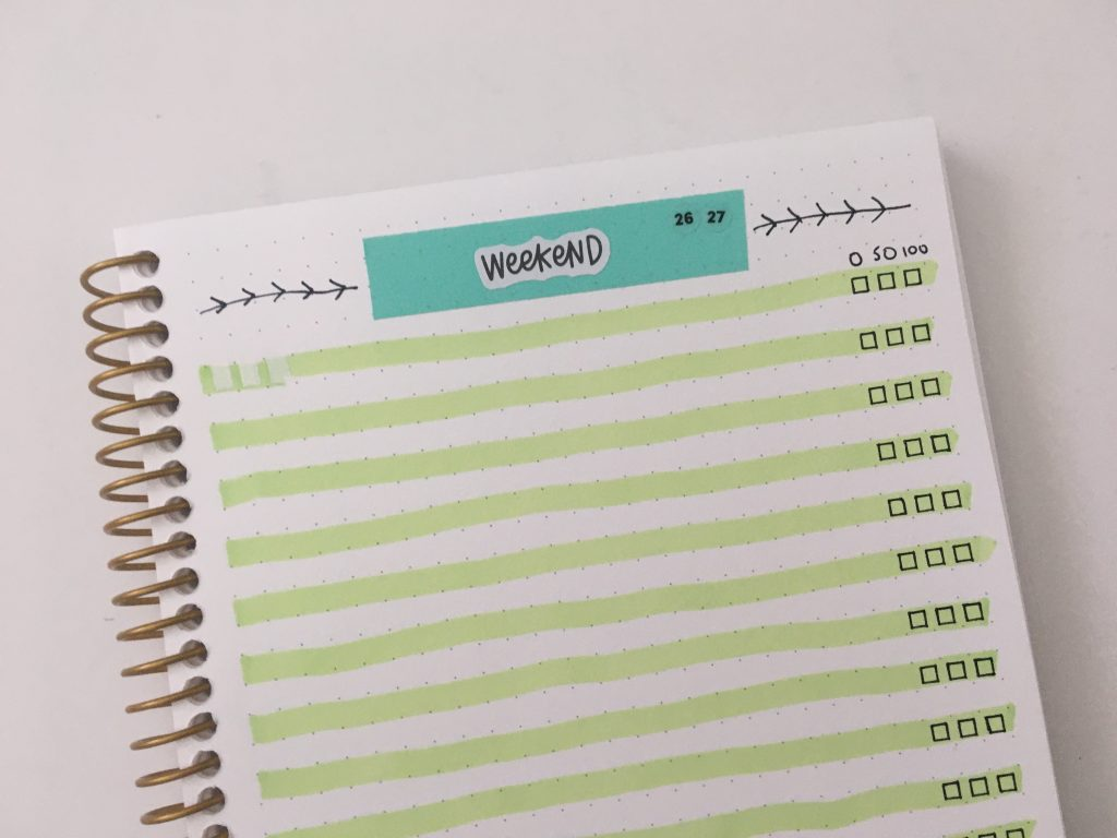 minimalist weekly spread horizontal 1 page weekly dashboard with checklist stamps checkbox highlighters washi tape