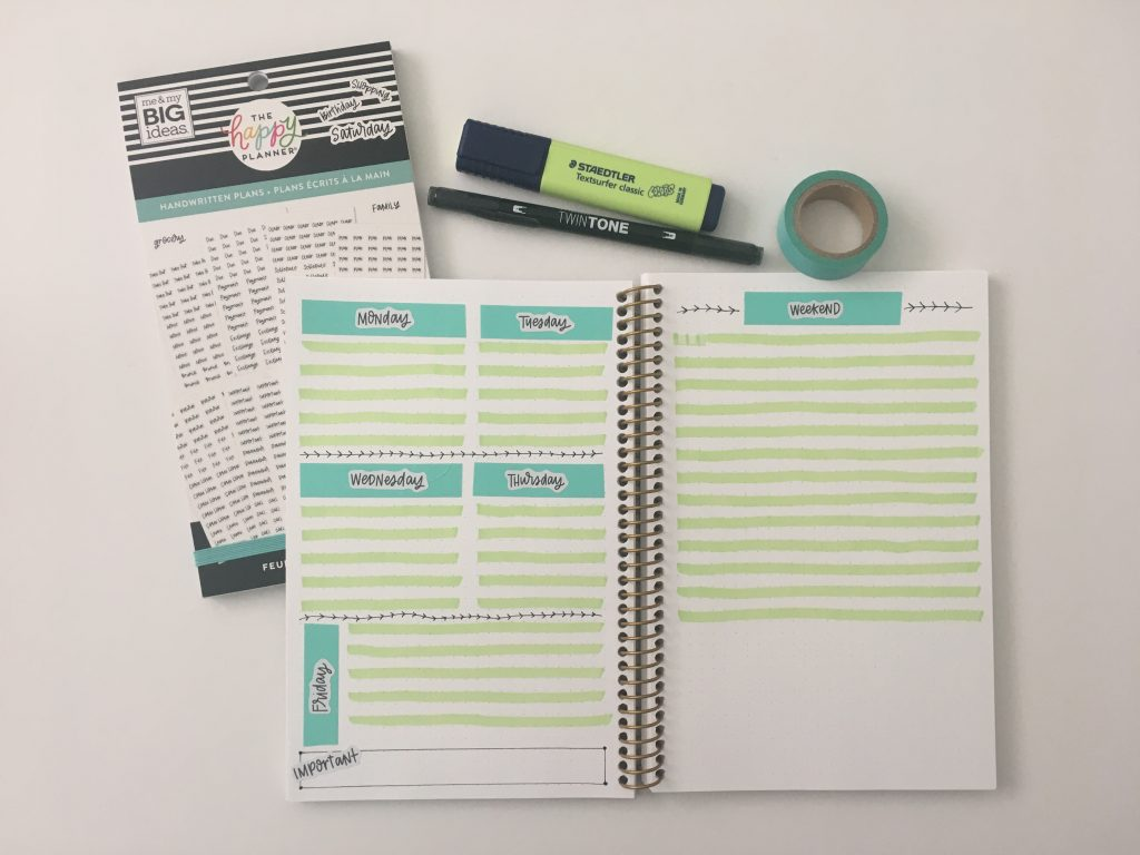 quick and easy washi tape highlighters spread green and blue bullet journaling 52 planners challenge all about planners