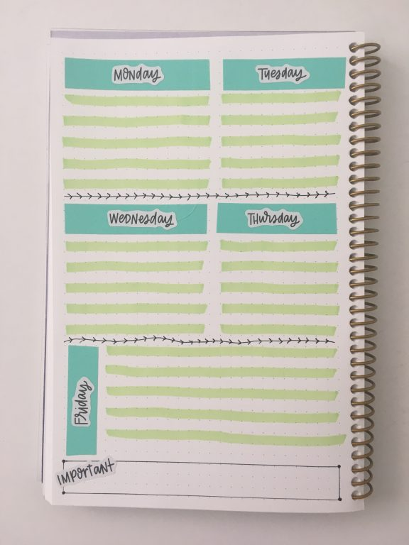 quick bullet journal weekly spread 1 page 5 day week horizontal and vertical lined posy paper notebook
