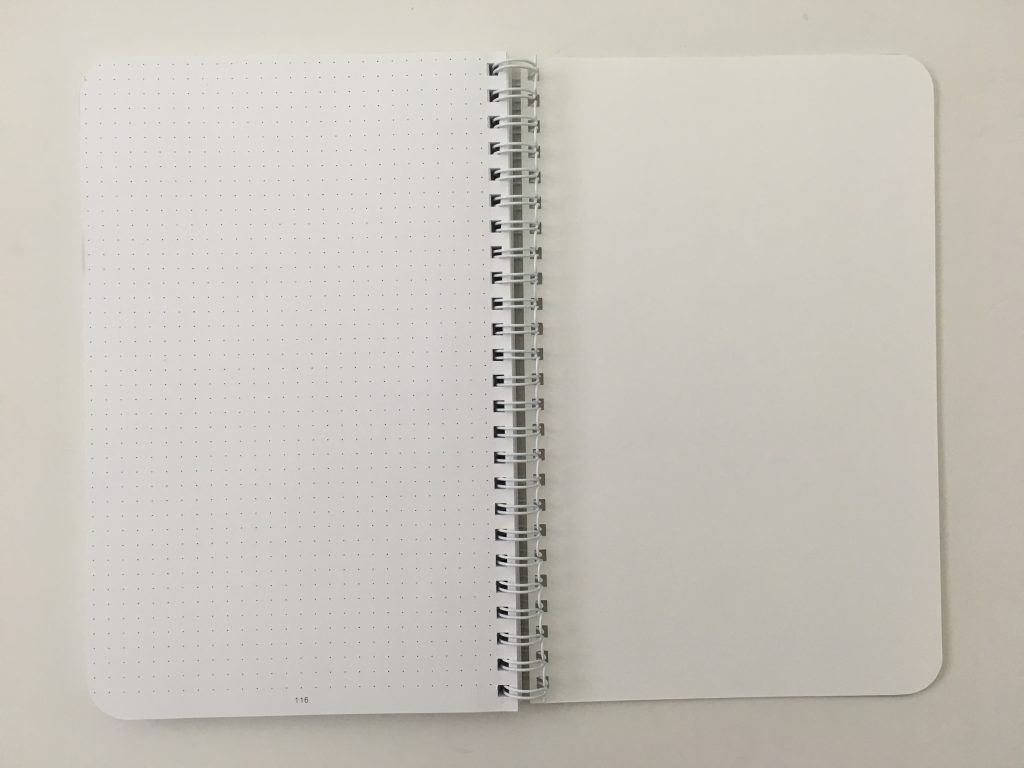 Ghost grid dot grid notebook coil bound lay flat bright white numbered pages 5mm index a5 page size_10