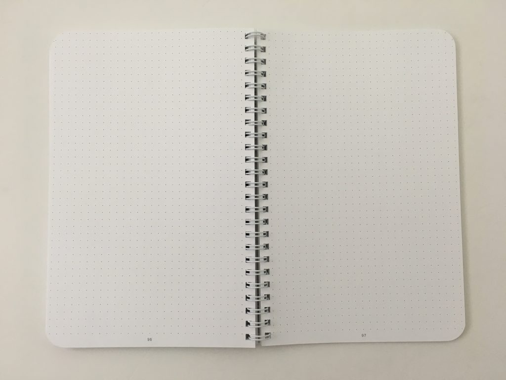 Ghost grid dot grid notebook coil bound lay flat bright white numbered pages 5mm index a5 page size_12