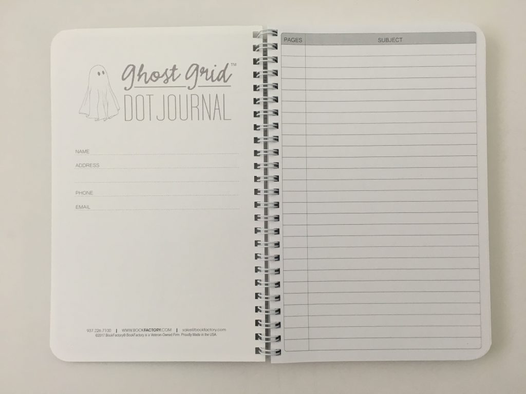 Ghost grid dot grid notebook coil bound lay flat bright white numbered pages 5mm index a5 page size_14