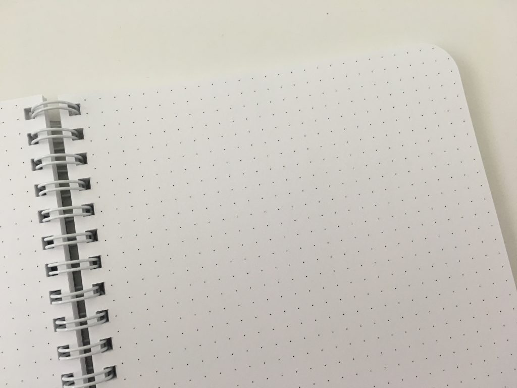 Ghost grid dot grid notebook coil bound lay flat bright white numbered pages 5mm index a5 page size_16