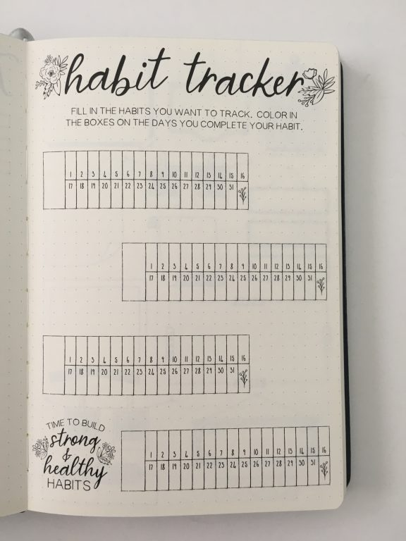 Recollections guided journal review bullet journal planner hybrid habit tracker montly calendar checklists lists book dot grid silver foil edges all about planners_08