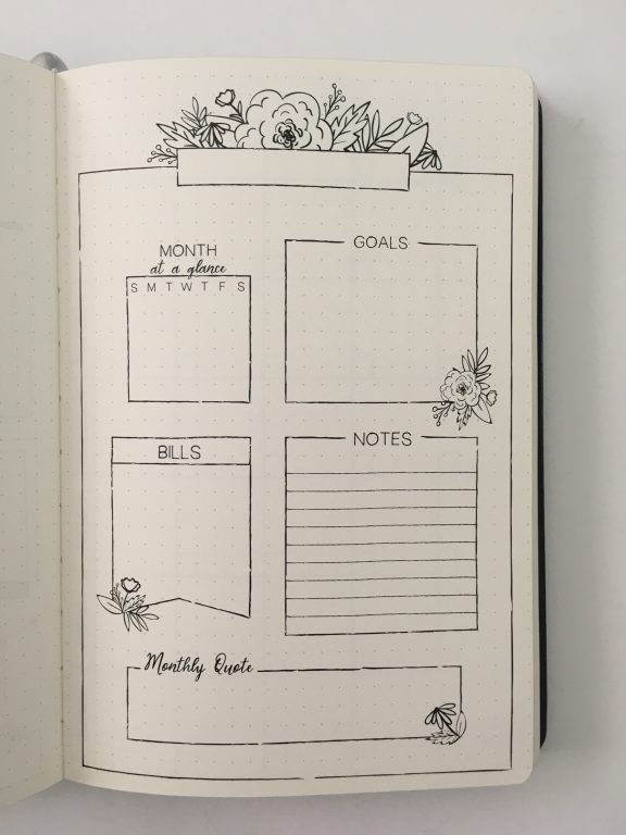 Recollections guided journal review bullet journal planner hybrid habit tracker montly calendar checklists lists book dot grid silver foil edges all about planners_10
