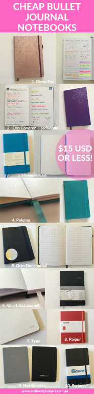 best cheap bullet journal notebooks that cost $15 dollars or less budget friendly bujo nebwie recommended supplies getting started 5mm dot grid affordable
