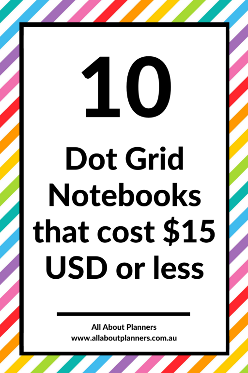 best cheap dot grid notebooks that cost $15 USD or less affordbale 5mm dot grid bujo newbie starter notebook pen testing recommendations all about planners