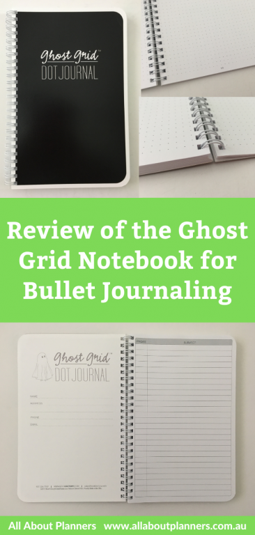 ghost grid bullet journal notebook review bright white pages 5mm lay flat wire binding pen testing