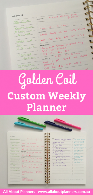 golden coil weekly planner spread rainbow paperchase fineliner pens would i buy it again custom planner comparison with agendio