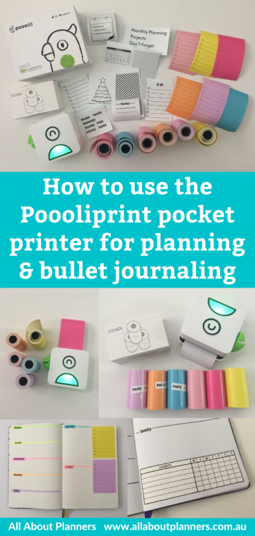 how to use the poooliprint pocket printer for planning and bullet journaling color coding diy stickers simple quick easy