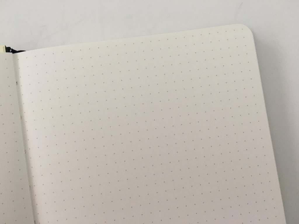 Peter Pauper press dot grid notebook for bullet journaling review 5mm no page numbers cream paper pen test sewn binding_05