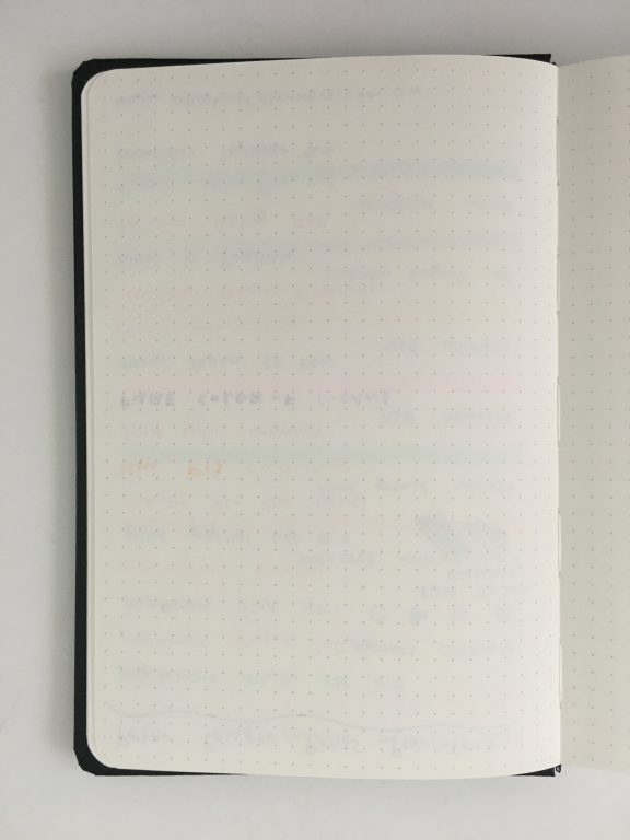 Peter Pauper press dot grid notebook for bullet journaling review 5mm no page numbers cream paper pen test sewn binding_08