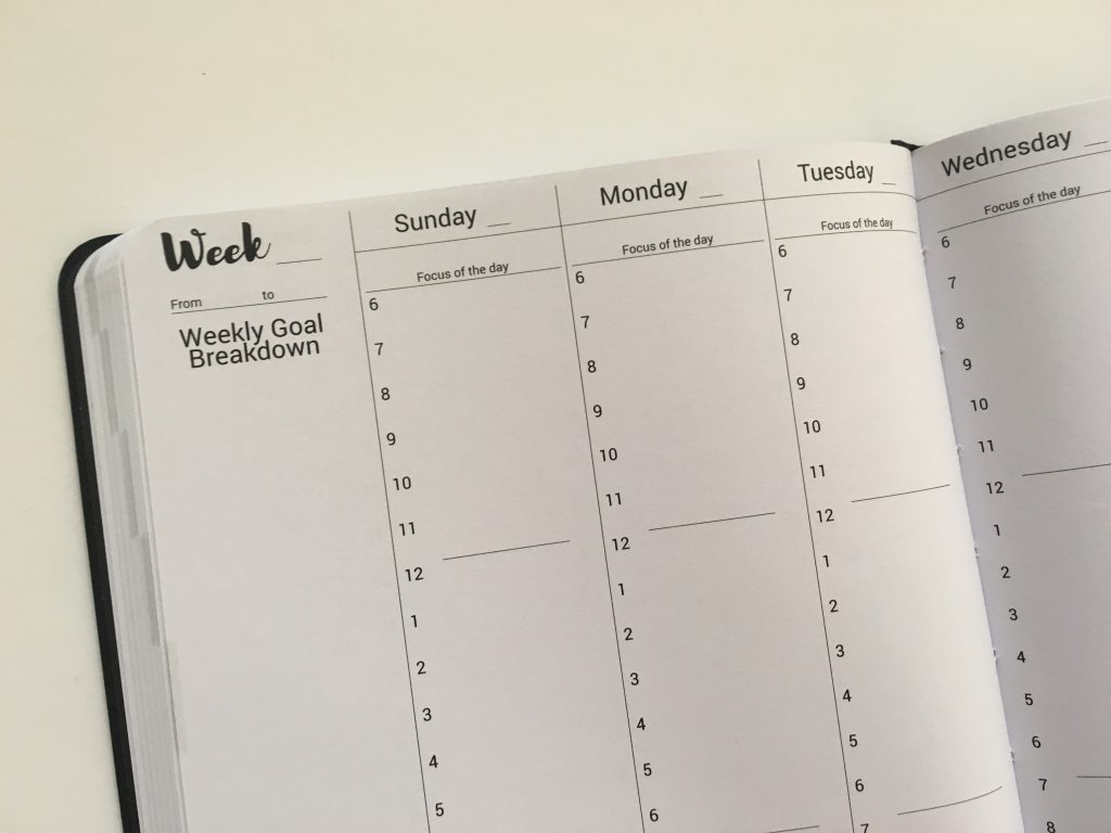 Prettysweeeet Planner review undated vertical hourly weekly planner goals monthly meals workout finances summary lined notes graph calendar stickers_12