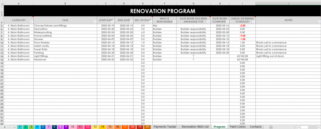 Renovation planner program tasks excel organizer google sheets color coded by room zone spending contacts paint colors