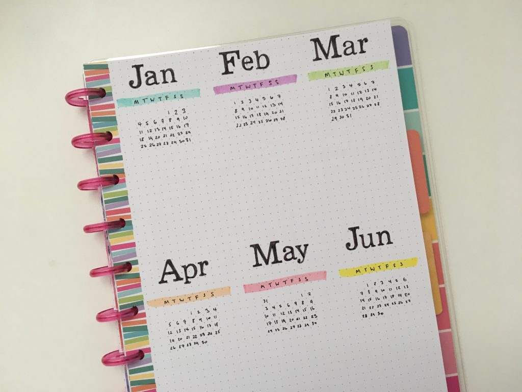 annual overview page dates at a glance simple quick easy minimalist stencil highlighters happy planner mambi me and my big ideas all about planners